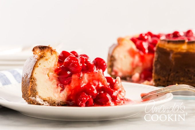 slice of cherry cheesecake