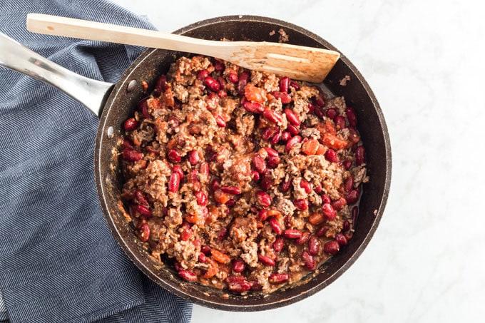skillet of homemade chili
