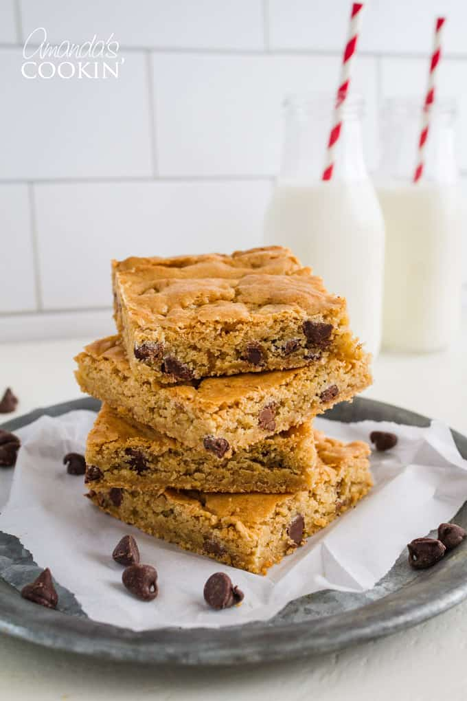 Chocolate Chip Blondies recipe with peanut butter chips.
