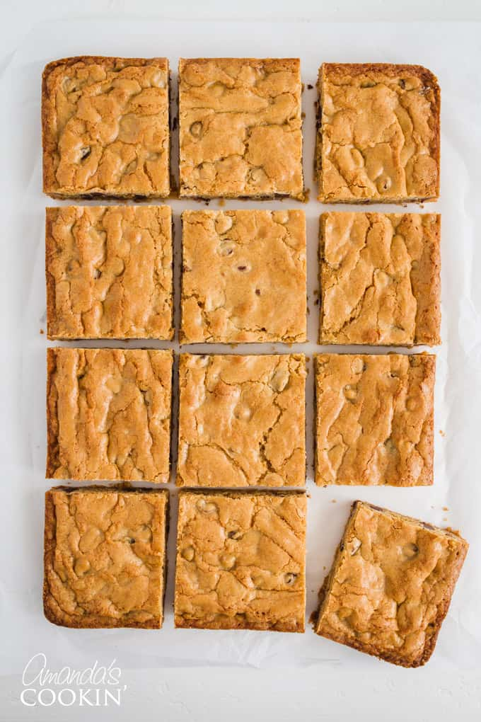 If you're a fan of nuts in your brownies or cookies, you can easily throw in chopped walnuts or pecans into this chocolate chip blondies recipe.