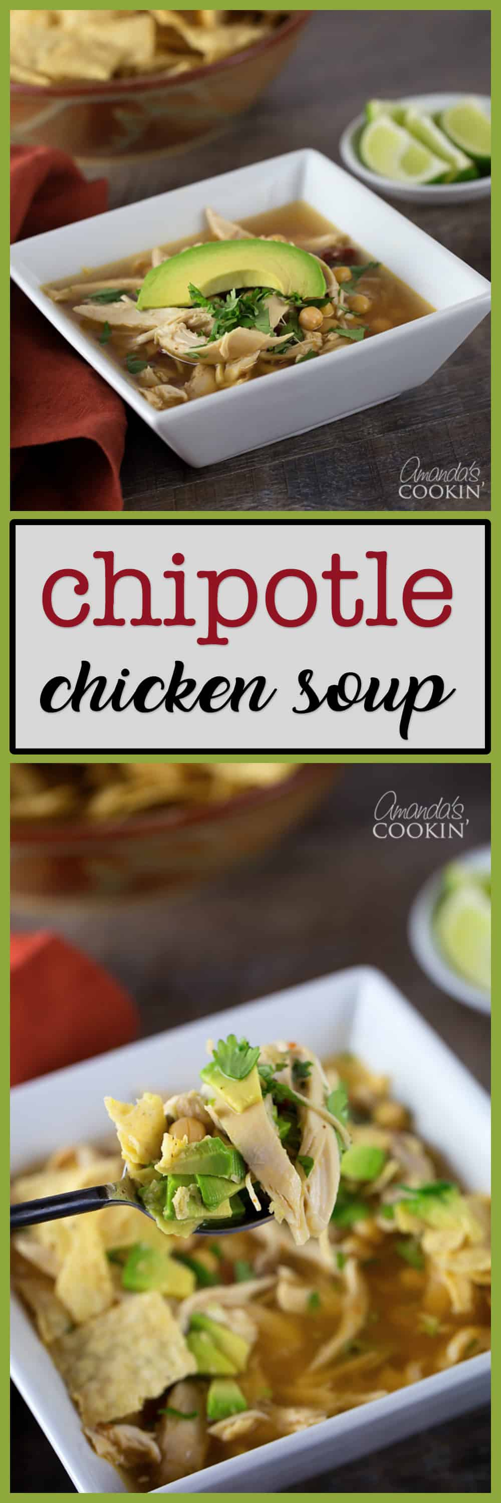 Photos of chipotle chicken soup in a white bowl.