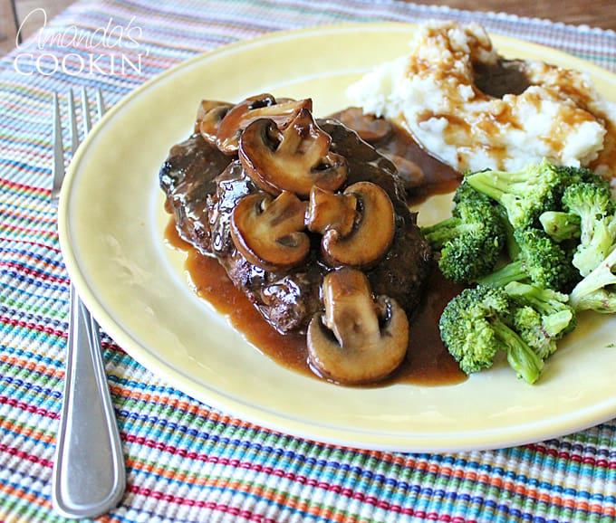 I love Salisbury Steaks and have been making this recipe for almost a decade. You can make my salisbury steak recipe in the slow cooker, oven or a skillet.