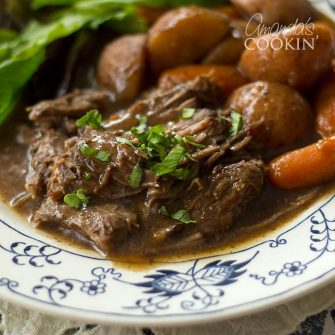 """I have been making this slow cooker """"To Die For Pot Roast"""" for many, many years. This roast only needs a few ingredients and cooks all day to perfection."""