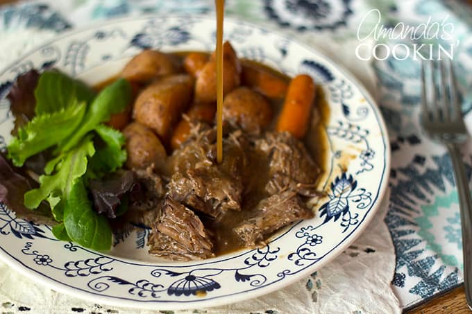 This roast is perfect as leftovers as well... if you have any. I usually don't. But now that it's just my youngest son and me, we can enjoy this pot roast for a couple of days. I will store the vegetables in a separate container so they can be reheated separately and easily.