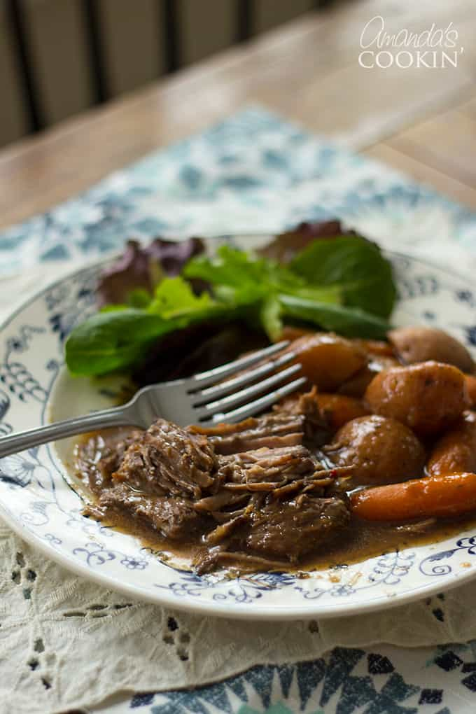 "This ""To Die for Pot Roast"" has been on my blog since 2008. It was one of the first recipes I ever added. It's made in the slow cooker and is one of my family's most requested recipes for dinner."