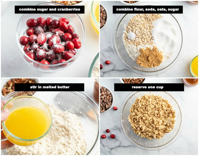 illustrated step photos for making crust and topping