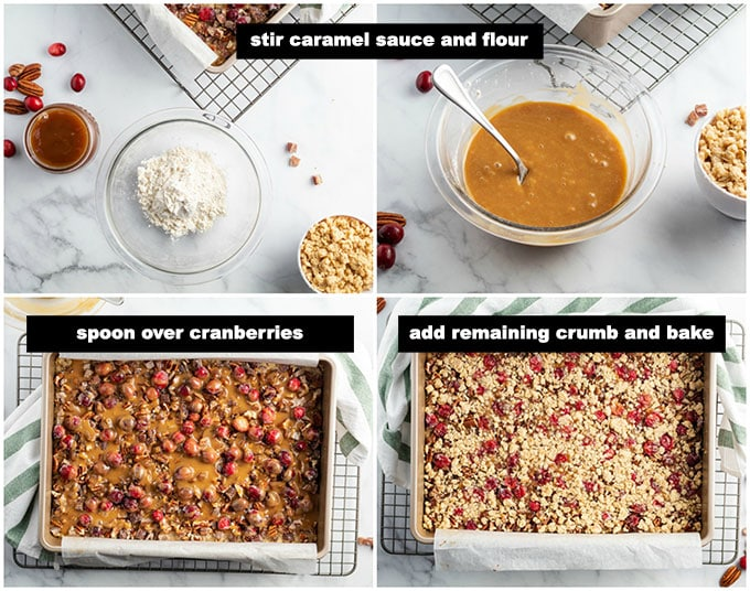 illustrated step photos showing caramel layer and baking the bars