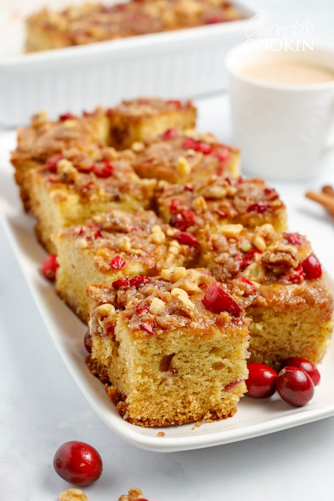 squares of cranberry coffee cake on a plate