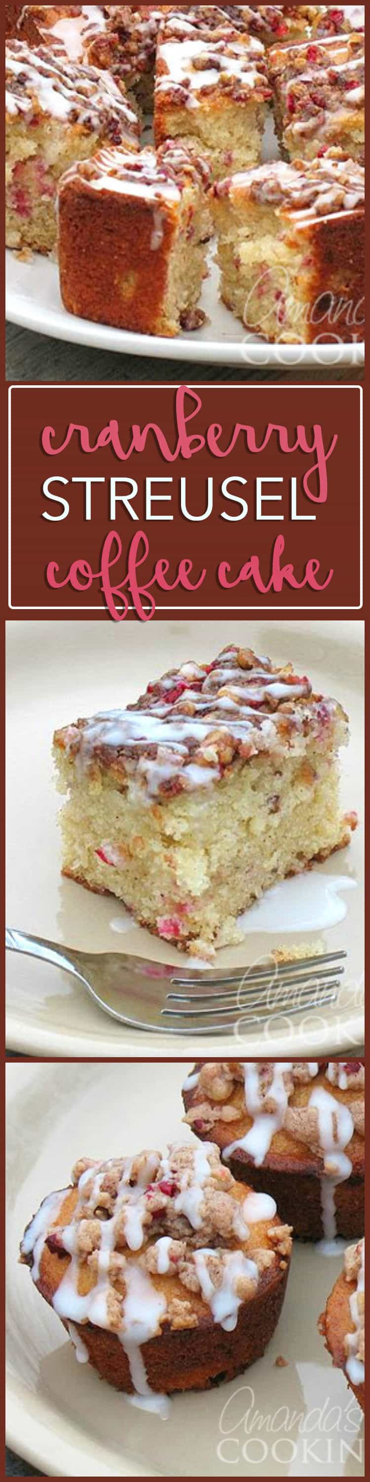 Use up those cranberries leftover from Thanksgiving by making this moist and delicious cranberry streusel coffee cake, perfect for Christmas morning!