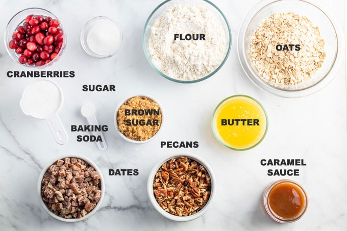 labeled ingredients for caramel cranberry bars