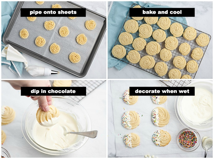 decorating butter cookies with chocolate
