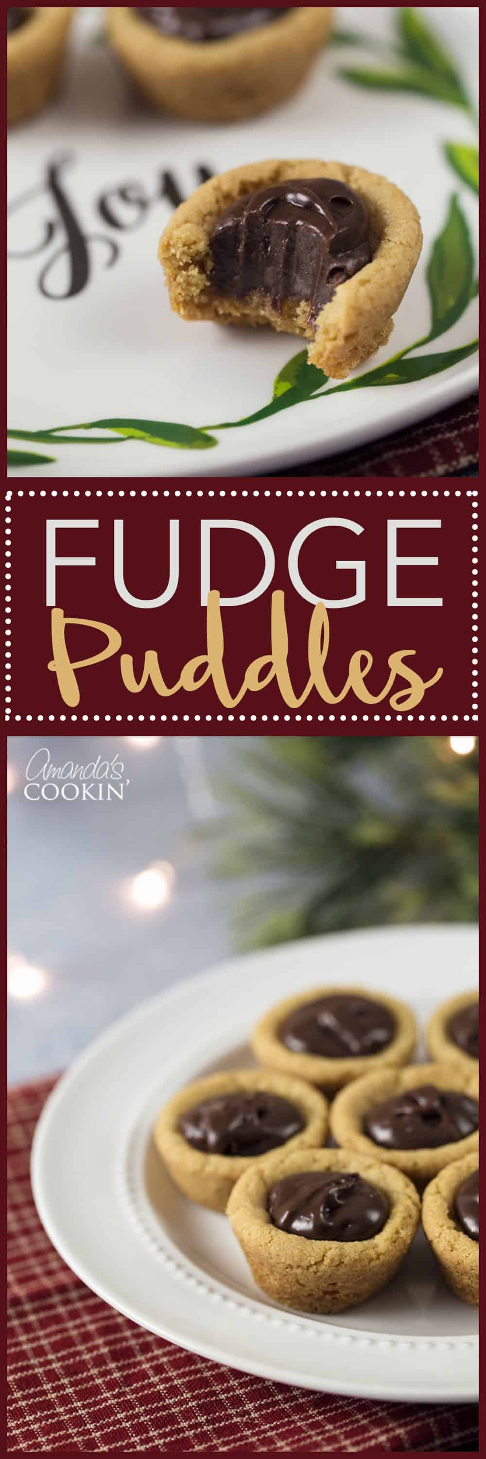 Fudge Puddles are these perfect little peanut butter cookie cups filled with a chocolate fudge filling that is absolutely delicious!