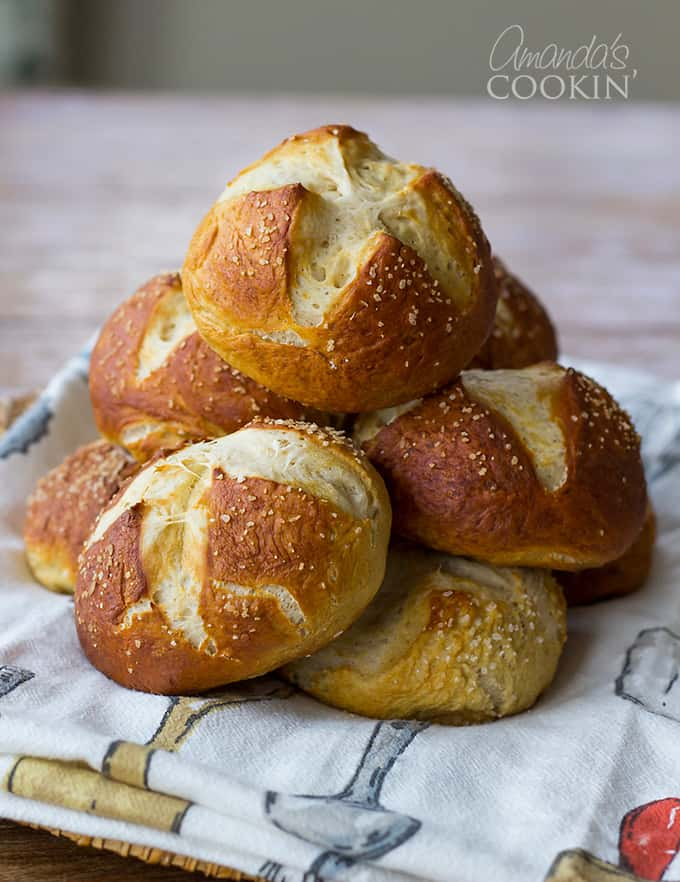 I've made authentic German pretzels before, but these are different. Homemade pretzels have a harder crust, these bretzel rolls are browned, but soft on the outside.