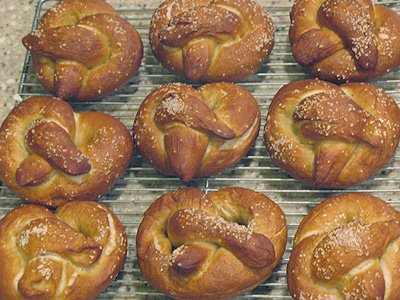 A close up overhead of homemade German pretzels.