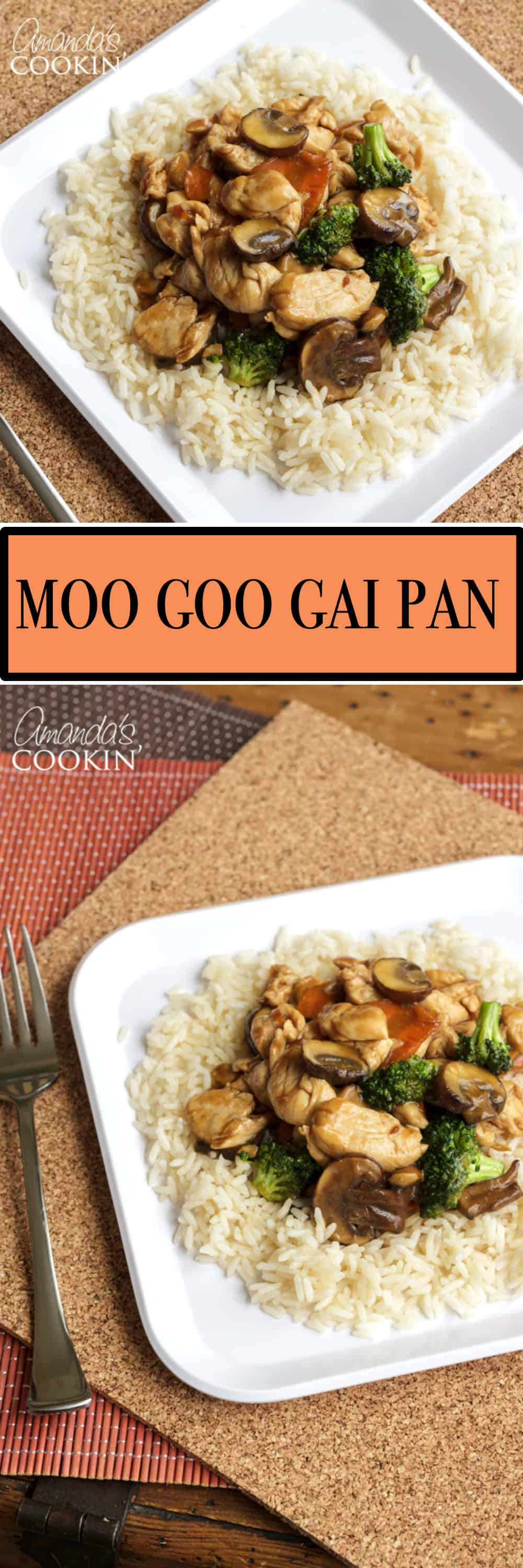 Moo Goo Gai Pan is a delicious stir fly consisting of chicken, mushrooms and vegetables. The vegetables vary from cook to cook, making it quite versatile!
