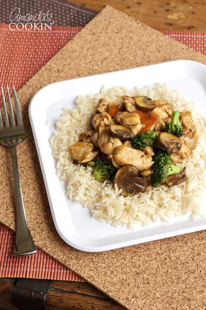 chicken stir fry on rice