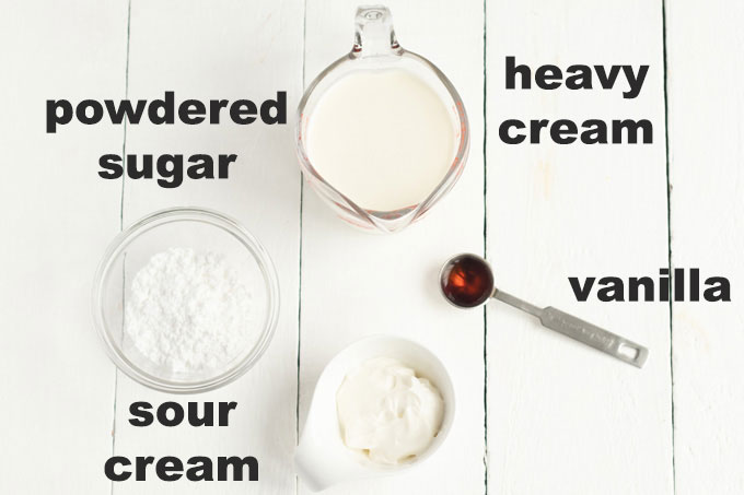 ingredients for whipped cream topping