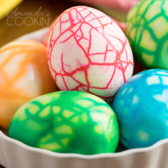 close up photo of crackled colored eggs
