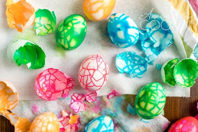 peeling eggs