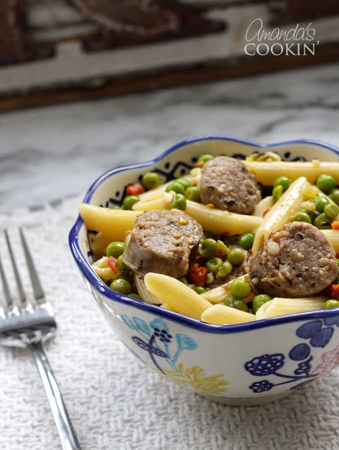 sausage penne and peas