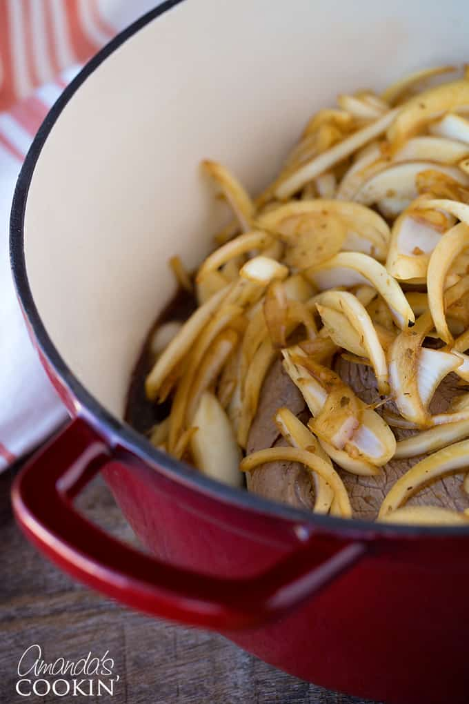 Other half of the onions can be cooked in the dutch oven with the Amish Pot Roast