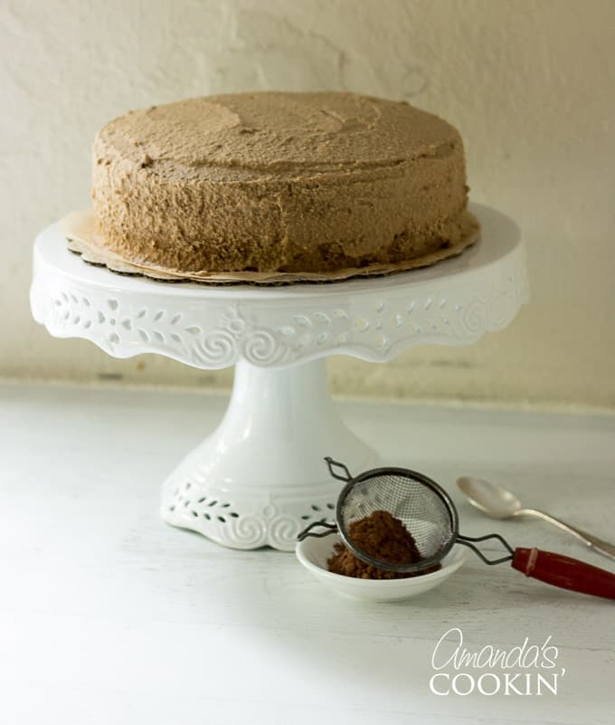 cocoa duster next to tiramisu cake