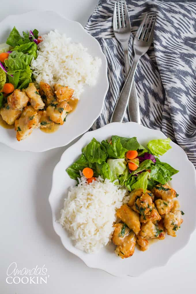Easy Garlic Chicken with rice and steamed veggies