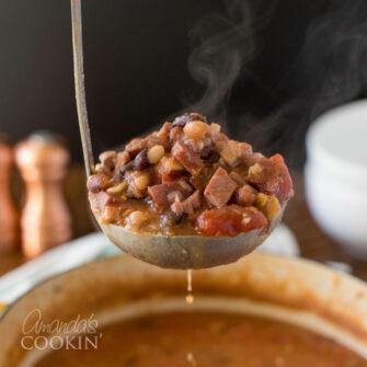 ladle of ham bean soup