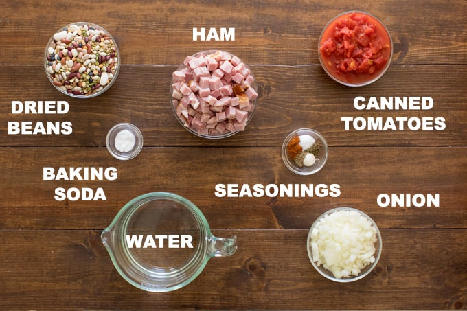 lebeled illustration of ham bean soup ingredients