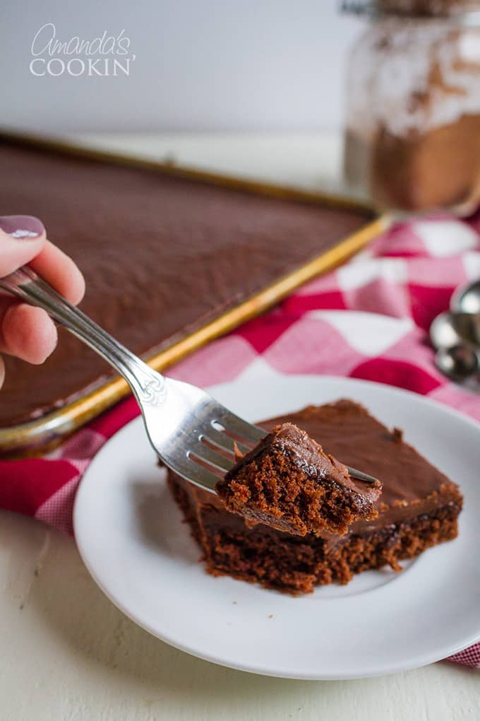 Texas Sheet Cake is a favorite all over the United States, not just in Texas! Make it with its fudgy frosting or add pecans or walnuts to the icing.