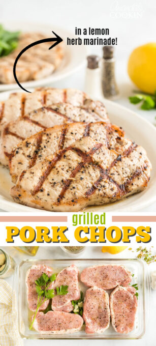grilled pork chops pin image
