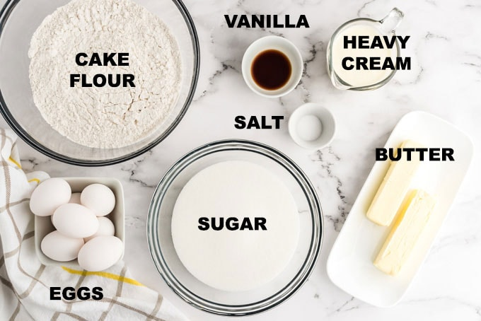 labeled ingredients for pound cake recipe