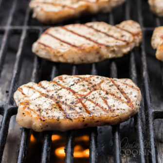 pork chops cooking on th egrill