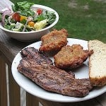 Greek Marinated Pork, Tomato Fritters, Greek Salad and Greek Loaf