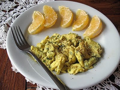 Scrambled Eggs with Garlic, Basil & Feta - Amanda's Cookin'