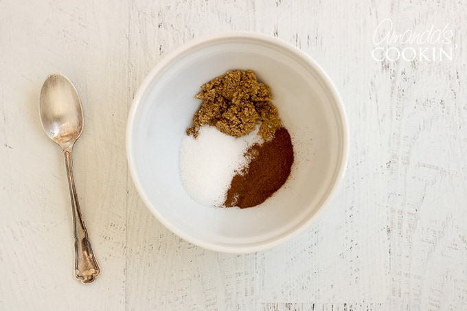 Topping ingredients for chocolate zucchini bread in a bowl