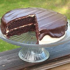 A photo of a chocolate cake with peanut butter frosting and chocolate peanut butter topping resting on a cake stand with a slice removed.