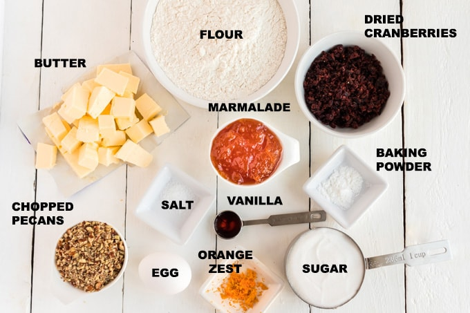 ingredients for cranberry orange spiral cookies