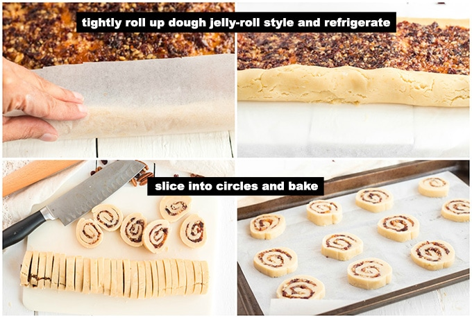 rolling up dough and slicing cookies