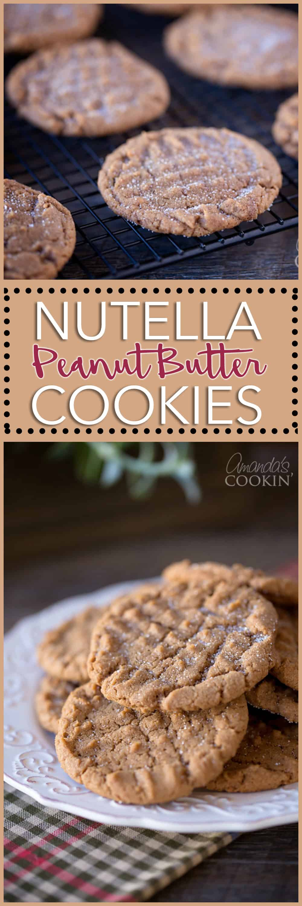 Photos of Nutella peanut butter cookies.