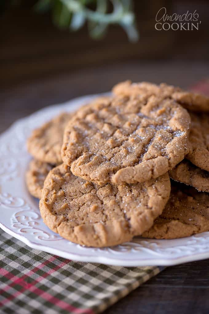 A close up photo of Nutella peanut butter cookies resting on a plate.
