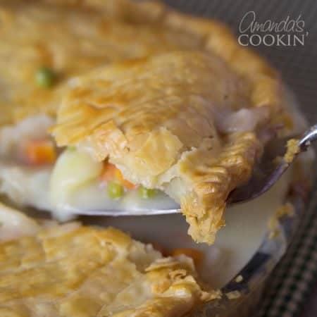Delicious homemade chicken or turkey pot pie!