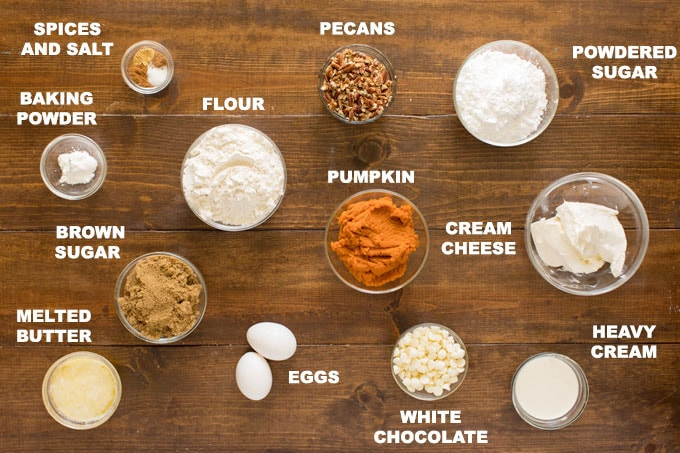 ingredients to make pumpkin cake