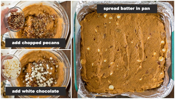 adding pecans and white chocolate chips to pumpkin cake batter