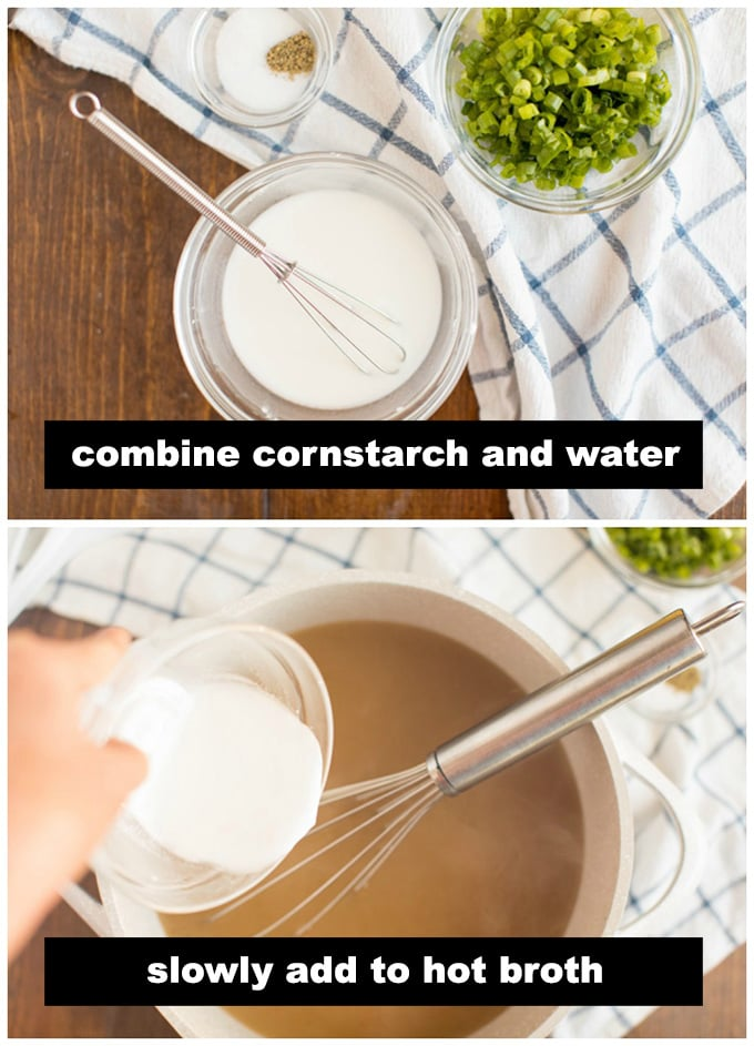 pouring cornstarch paste into hot broth