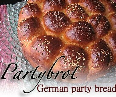 A close up photo of partybrot, a German party bread.
