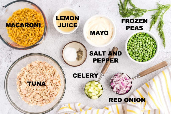 ingredients for tuna macaroni salad