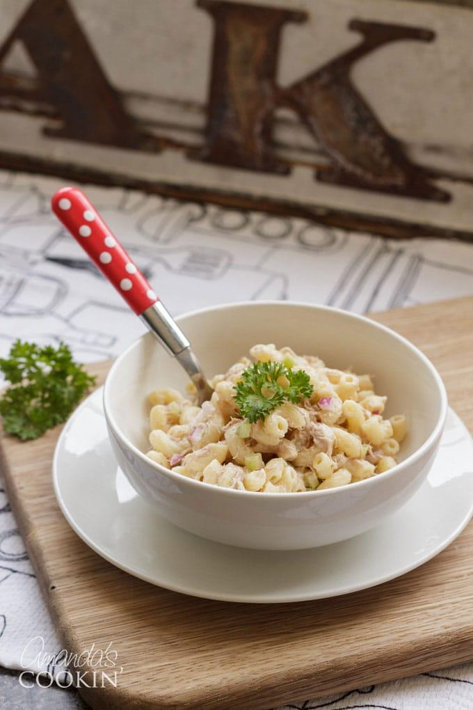 tuna pasta salad in bowl