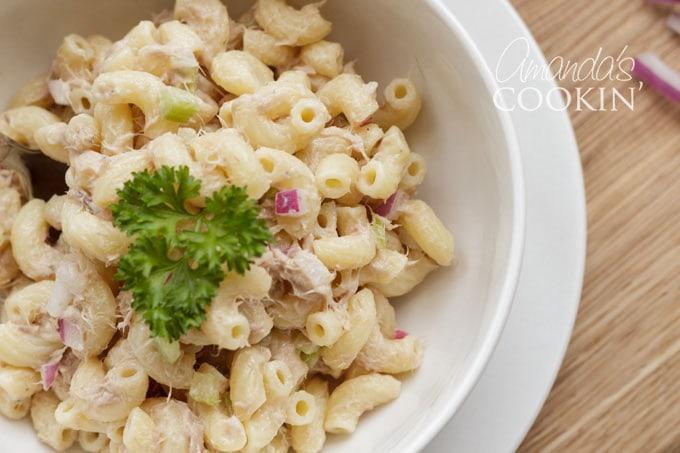 close up tuna pasta salad