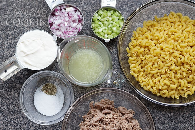 ingredients for tuna pasta salad